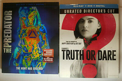The Predator (2018) + Truth Or Dare Unrated Blu-ray+DVD+Slip Covers, No Digital