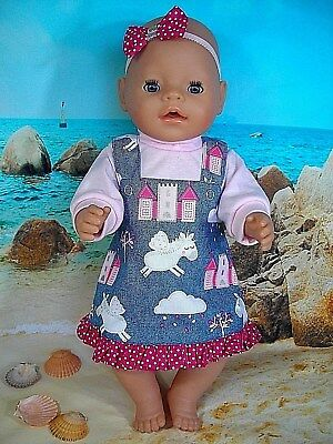 "Dolls clothes for 17"" Baby Born doll~UNICORNS ~CASTLES~PINAFORE~TOP~HAIR BOW"