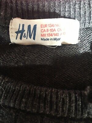 Girls Dark Grey H&m. Soft Cable Jumper Age 9-10 Yrs Vgc.
