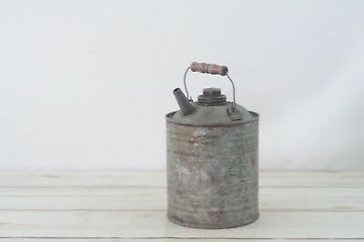 1 Gal Vintage J & L Ware Galvanized Metal Gas Oil Kerosene Fuel Can Wood Handle