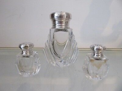 1925 french crystal & sterling silver sugar, salt & pepper shakers art deco