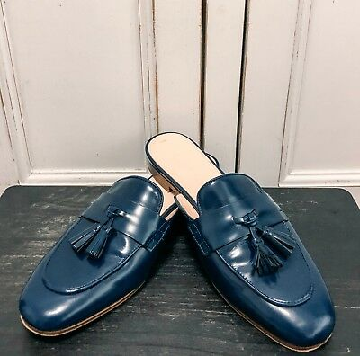 J Crew Navy Blue Loafer Mules Flats Shoes size 5.5/35.5 Designer Italian Leather