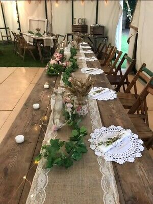 Job Lot Wedding Rustic Hessian Lace Table Runners Numbers Bunting