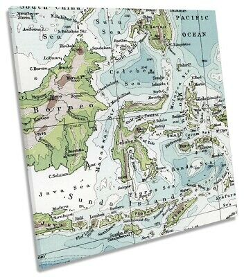 Malay Archipelago Old Vintage Map Picture CANVAS WALL ART Square Print
