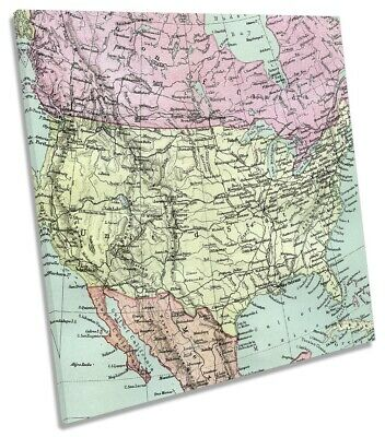 North America Old Vintage Map 3 Picture CANVAS WALL ART Square Print