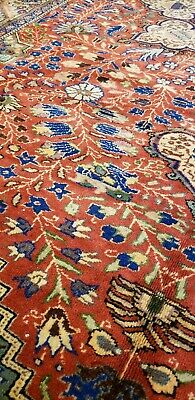 Stunning Late 1940's Antique Wool Pile Natural Colors Hereke Rug 7x10ft