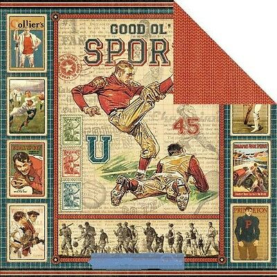 Graphic 45 scrapbook paper Good Old/' Sport  baseball football 5p Game Day Ads