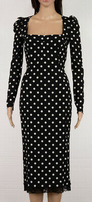 3d5bffb92e35  2290 Dolce And Gabbana Black With White Polka Dot Print Chiffon Dress Sz 40