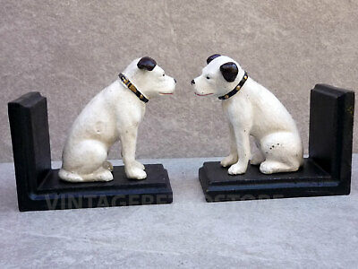 HMV Bookends Nipper His Masters Voice Cast Iron Reproduction Vintage Style