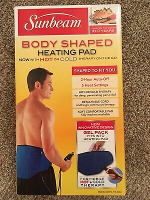 Sunbeam Body Shaped Heating Pad w/ Hot & Cold Pack 5 Heat Settings Auto Off