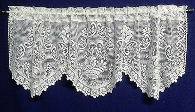 """White Basket Of Flowers 60"""" X 21"""" Lace Window Valance Kitchen Bedroom"""