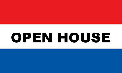 New Open House Flag Banner 3' X 5' Sign With 2 Brass Grommets