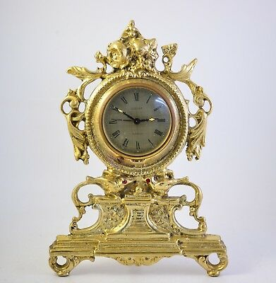 Vintage German Brass Mantel Mechanical Wind Up Alarm Clock EUROPA