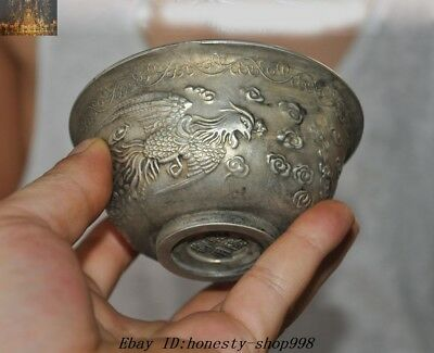 """4"""" Marked Old Chinese Dynasty Tibetan Silver Phoenix Totem Tea Bowl Cup Bowls"""
