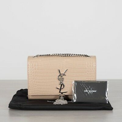 e4681c241ac26 SAINT LAURENT 2190  Small Kate With Tassel In Embossed Crocodile Shiny  Leather