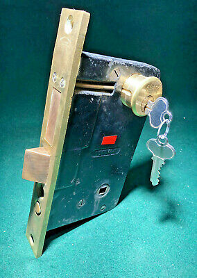 "NORWALK #2811 PUSH BUTTON BRASS ENTRY MORTISE LOCK w/KEYS 8 5/8"" FACE (11861)"