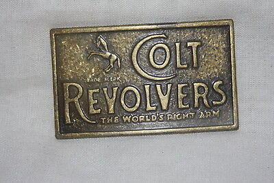 Vintage Metal Brass Patina Colt Revolvers Belt Buckle