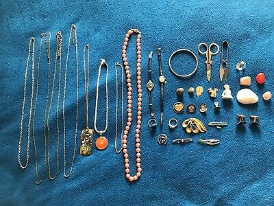 Mixed jewellery lot necklaces rings watches bracelet pin badges brooches silver