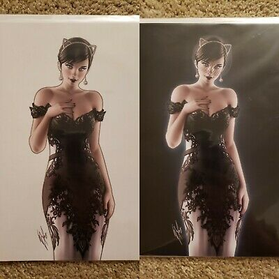 Batman 50 Warren Louw Catwoman Virgin SDCC KRS Exclusive Black White Variant Set