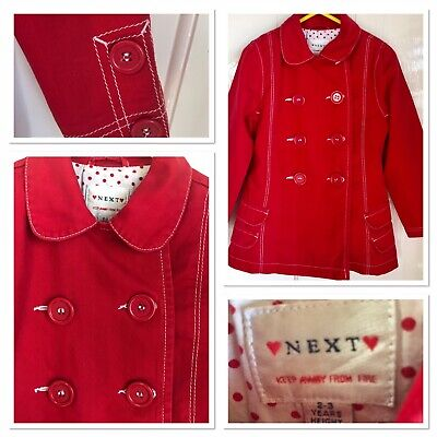 NEXT Girls Spring Red Double Breasted Trench Coat White Topstitch Detail Age 3