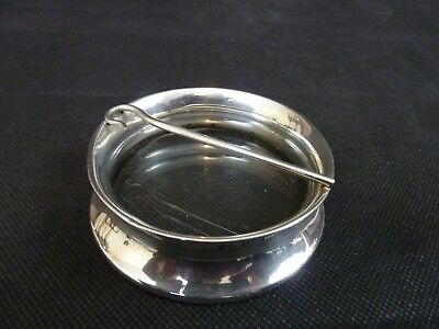 Unusual Sterling Silver & Glass Dish Chester 1923 Shepherds Crook