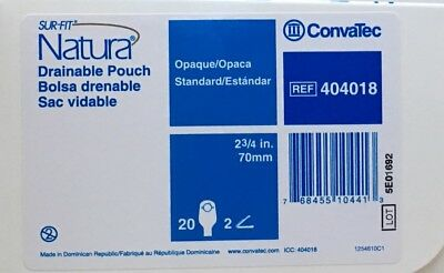 """20 Pack Convatec 404018 Sur-Fit Natura Opaque Ostomy Pouches 2 3/4"""" 70 mm"""