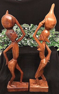 """Hand-Carved WOOD SCULPTURES 16"""" African Man & Woman ARTIST SIGNED, Antigua VTG."""