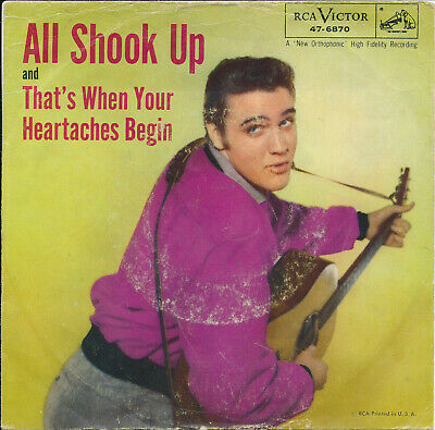 Elvis Presley  All Shook Up/That's When Your Heartache Begins 45 47-6870 VG+ PS