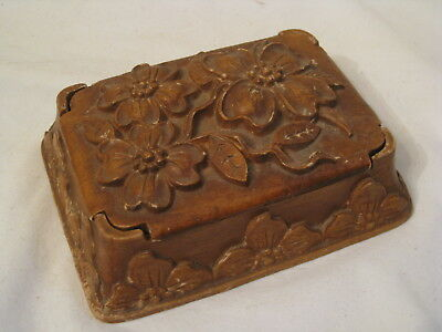 vintage playing cards double deck holder ornate flower storage container *