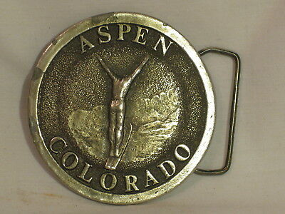 vintage ASPEN COLORADO James Lind 1973 ornate heavy metal belt buckle skiing ski