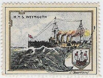 "Delandre Cinderella stamp: British WWI, Royal Navy ""HMS Weymouth""- cw48.12"