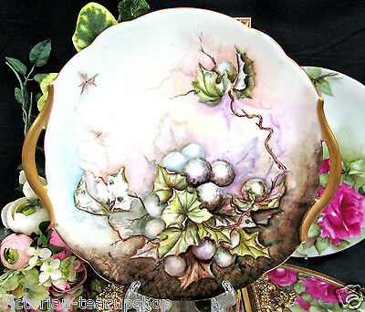 T & V Limoges France Handpainted Platter With Gold Handles
