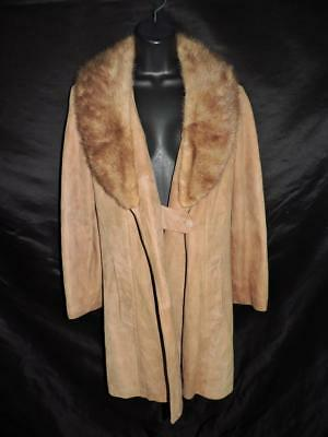 Vintage 60s S M Brown Suede Leather Coat Mink Fur Collar New England Sportswear