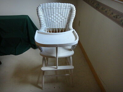 Antique Heywood/Wakefield Wicker High Chair/ Child's Table Chair, with Shelf