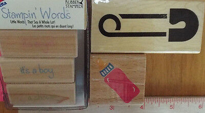 Wood Rubber Stamp 5pc LOT Baby It's A Boy Girl Shower Diaper Pin Bottle Announce