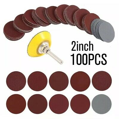 """100x 50mm (2"""") Assorted Rotary Sanding Disc Pads 80 - 3000 Grit Velcro Sandpaper"""
