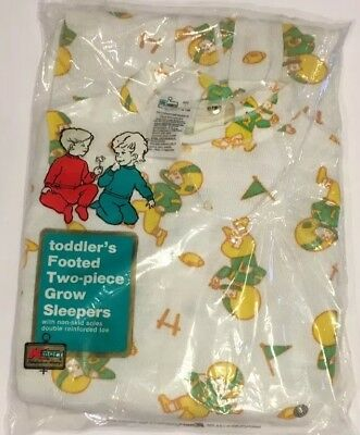 Vtg Football Player Toddler Footed Pajamas PJs Footie KMart 2 Piece Sleepers NEW
