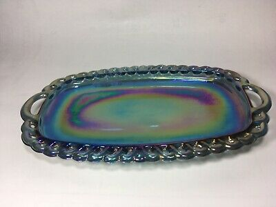 Blue butter, cream and sugar plate, dish carnival Iridescent Indiana Glass?