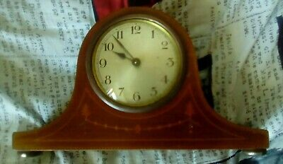 Vintage Retro Wooden Frame Wind up Mantle Clock with key and metal back cover
