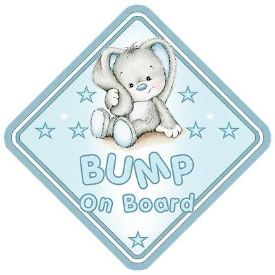 Rabbit Bump On Board Car Window Sign Non Personalised - Blue Baby Boy