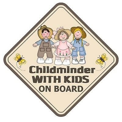 Childminder With Kids On Board Car Window Sign Non Personalised - Safety Baby