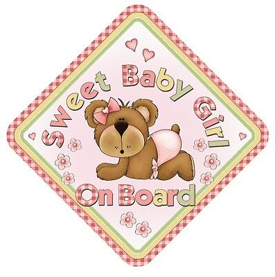 Sweet Baby Girl On Board Car Window Sign Non Personalised