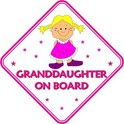 Granddaughter On Board Car Window Sign Non Personalised - Pink Safety Girl