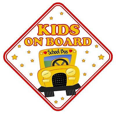 Kids On Board Car Window Sign Non Personalised - Safety Baby Children School Bus