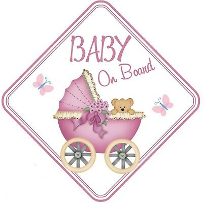 Baby On Board Car Window Sign Non Personalised - Pink Girl Pram Safety