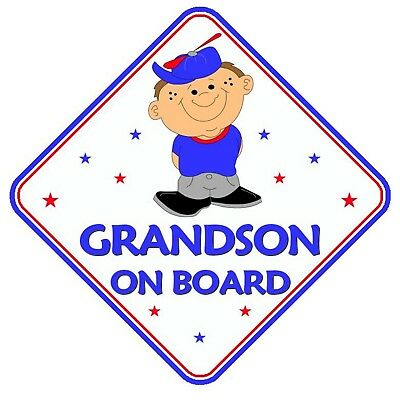 Grandson On Board Car Window Sign Non Personalised - Pink Safety Girl