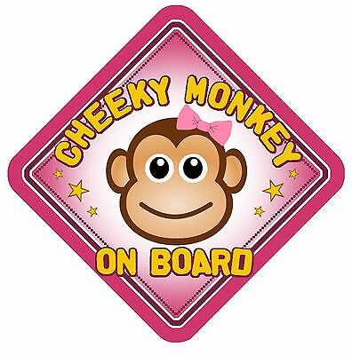 Cheeky Monkey On Board Car Window Sign Non Personalised Pink Girl