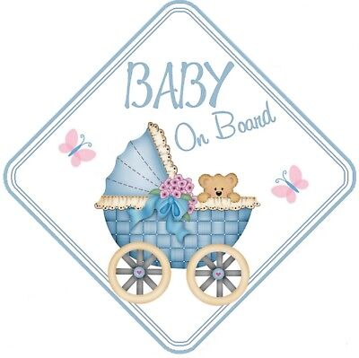 Baby On Board Car Window Sign Non Personalised - Blue Boy Pram Safety