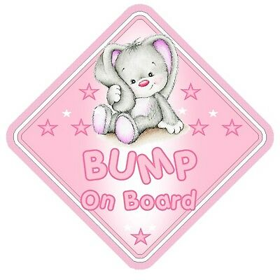 Rabbit Bump On Board Car Window Sign Non Personalised - Pink