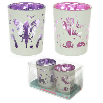 glass candle holder tealight 2 pair fairy garden design LISTING FOR CHARITY